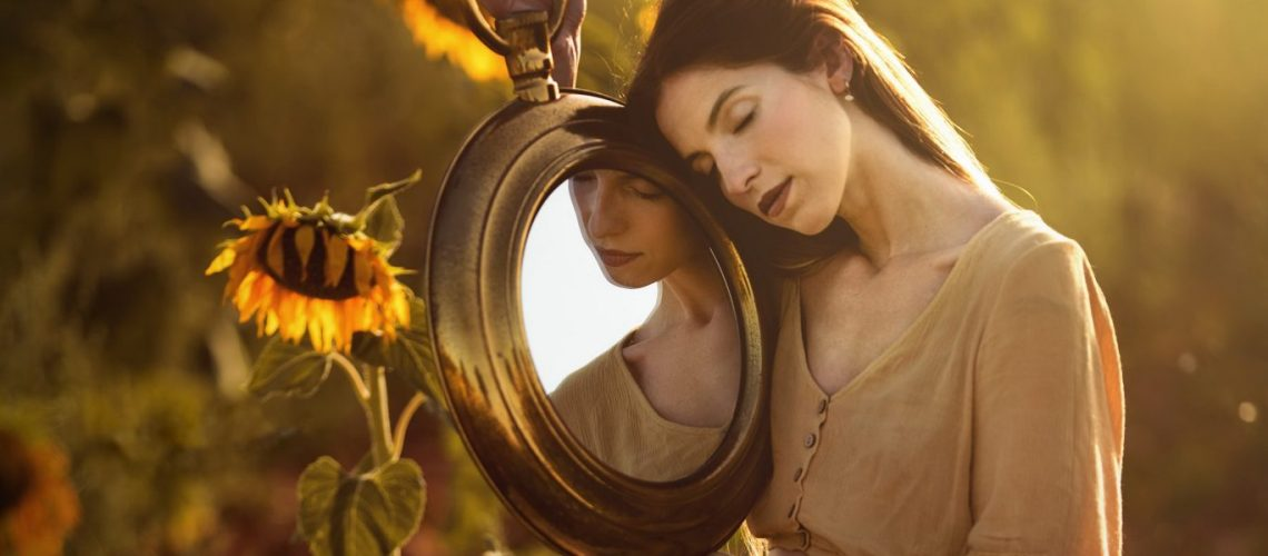 Women-Mood-Girl-Sunflower-Mirror-Woman-Model-Reflection-Brunette-HD-Wallpaper-Background-Image